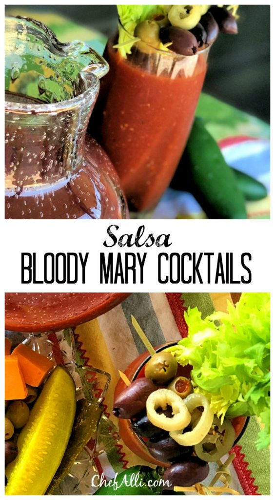 Who loves a good hair-of-the-dog Bloody Mary??? Talk about a delicious classic! This signature cocktail takes on a South of the Border twist by adding salsa to the mix.Salsa Bloody Mary Cocktailsare sure to be a hit at your next gathering. #bloodymary #cocktails #salsa #signaturecocktails #tomatojuice #vodka