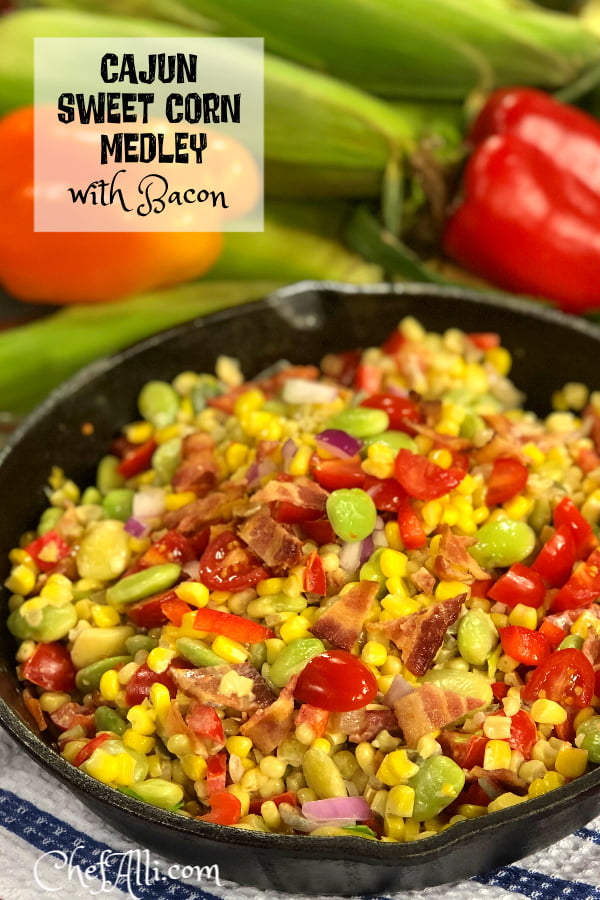 Cajun Sweet Corn Medley (aka succotash in the deep South) is a traditional summer side dish that combines sweet corn and vegetables with BACON to make a tasty and colorful addition to any meal. Bring out your favorite cast iron skillet and whip up a batch of Summer!
