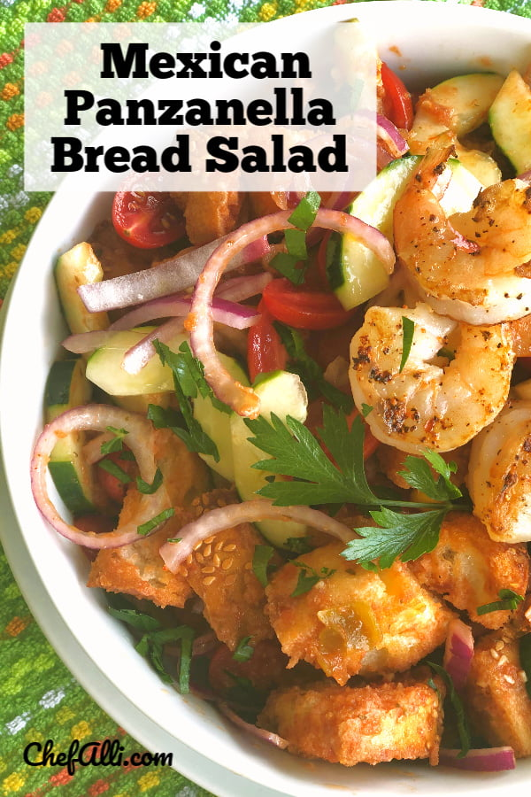 Mexican Panzanella Salad with Steak and Shrimp: This classic Italian bread and tomato salad  goes South of the Border.  Fresh and full of summer, this main-dish salad is a great way to use up those really-ripened tomatoes and that day-old hunk of French bread....soon made into croutons! #Panzanella #Salad #Tuscan #Mexican #MainDishSalad #BreadSalad #Summer
