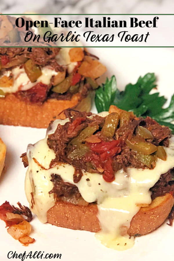 """Yay! Here's another easy weeknight dinner your family will go crazy for: Open-Face Italian Beef Sandwiches. This ground beef version of an Italian Classic is flavorful and fast - my guys gave them a giant """"thumbs up"""", thankfully. These oven-baked sandwiches are also a big hit for watch parties on game day, as well. #ItalianBeef #SubSandwiches #OvenBaked #GroundBeef #EatBeef #SpeedyMeal #Easy #Sandwiches"""