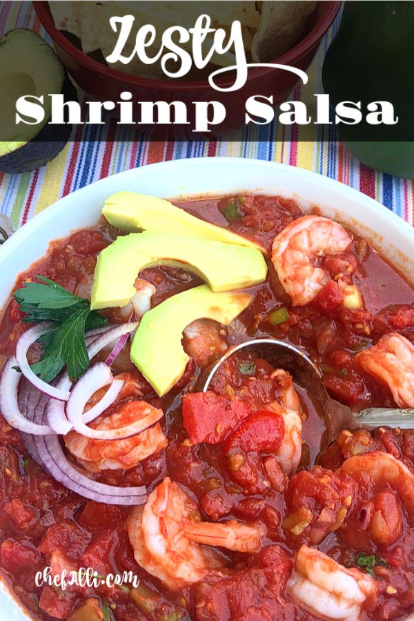 Zesty Shrimp Salsa. Grab a bowl and your favorite tortilla chips! This salsa is super addictive and sports a secret ingredient that you don't often find in most salsa recipes....and it's not the shrimp that I'm referring to, either! #shrimp #freshsalsa #zesty #flavorful #tomatoes
