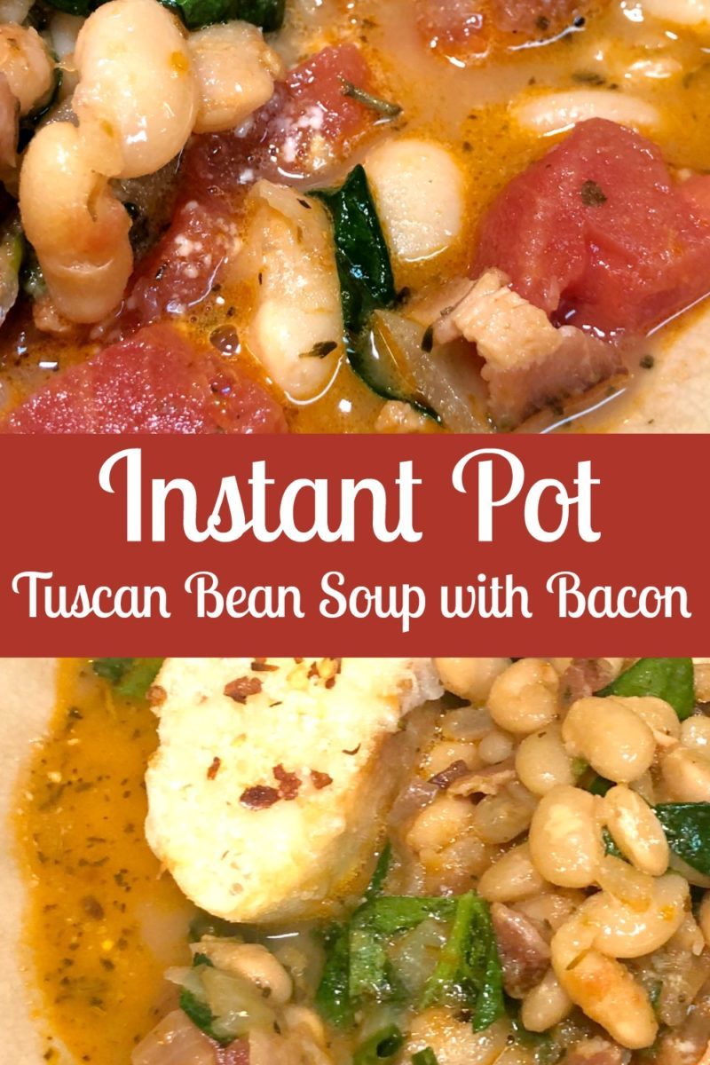 Picture collage featuring two up close pictures of Tuscan Bean Soup with Bacon in a bowl.