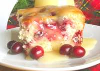 A piece of yellow cake with cranberries on a plate.