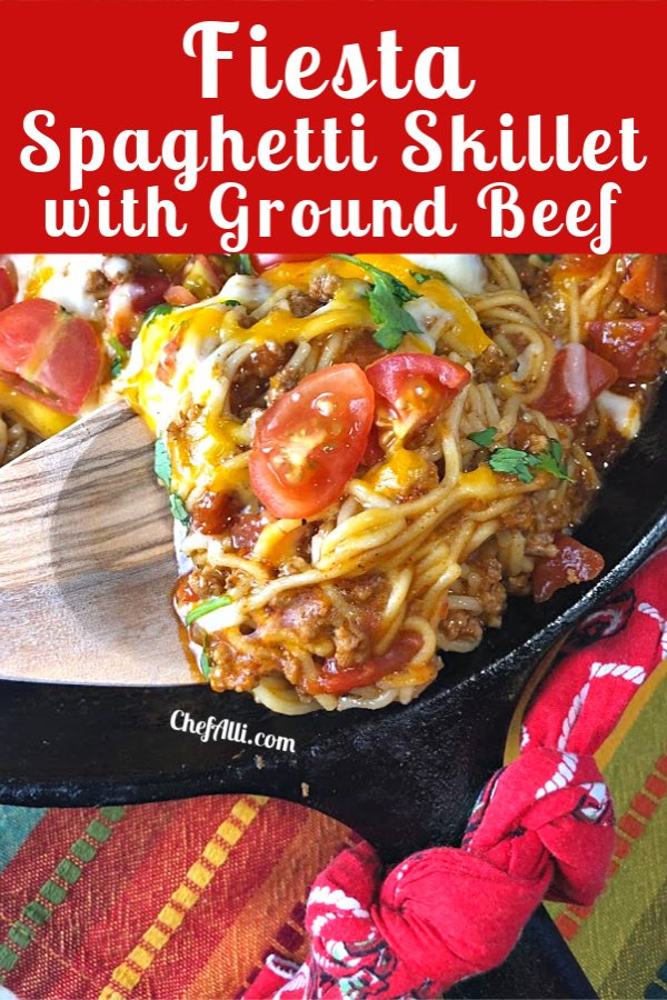 A spoonful of ground beef mexican skillet.