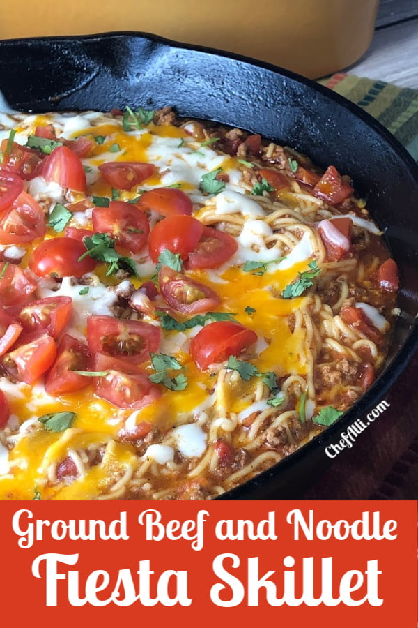 Skillet of mexican pasta.