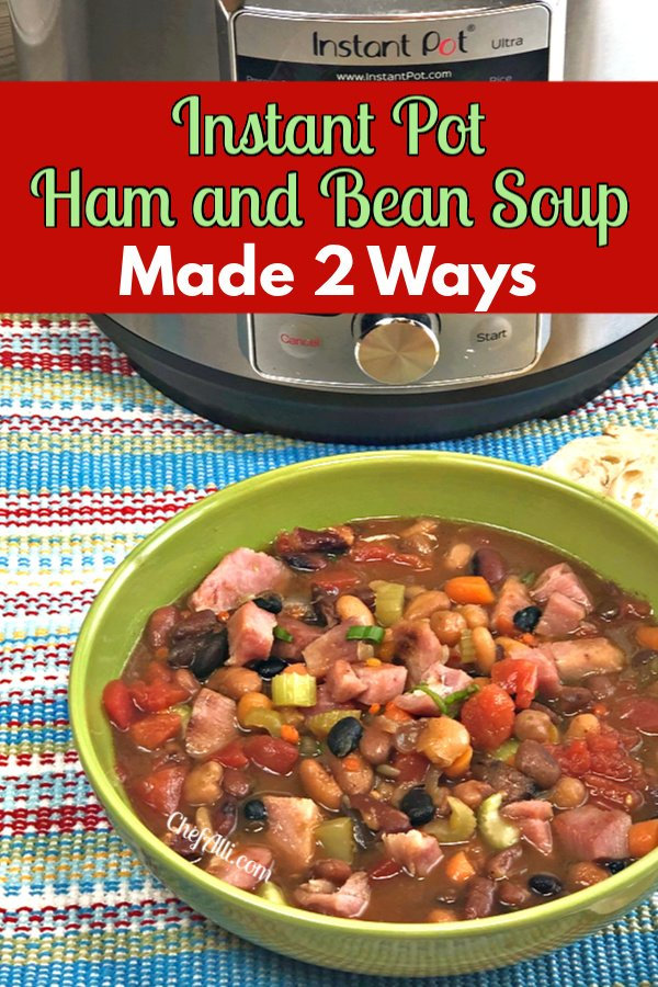 Bowl of ham and bean soup with an Instant Pot.