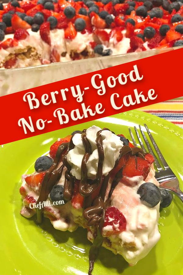 Enjoy a piece of Berry Good No-Bake Cake or an entire pan!