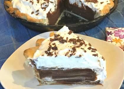 A piece of chocolate cream pie is a dreamy dessert.