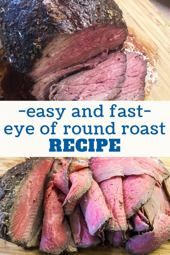 Beautiful eye of round roast slices that are medium rare in doneness.