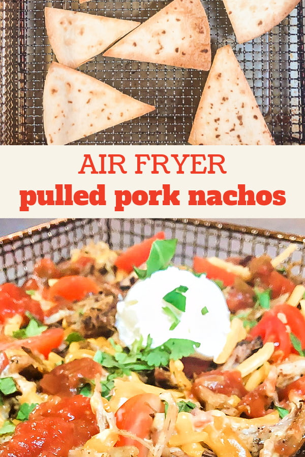 An air fryer rack that is loaded with pork nachos and their toppings.