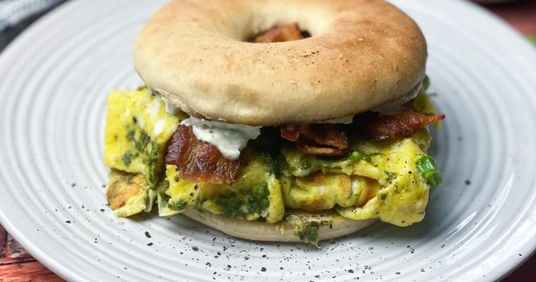 Soft Scrambled Egg Breakfast Sandwich With Pesto, Bacon & Herb Garlic Cheese