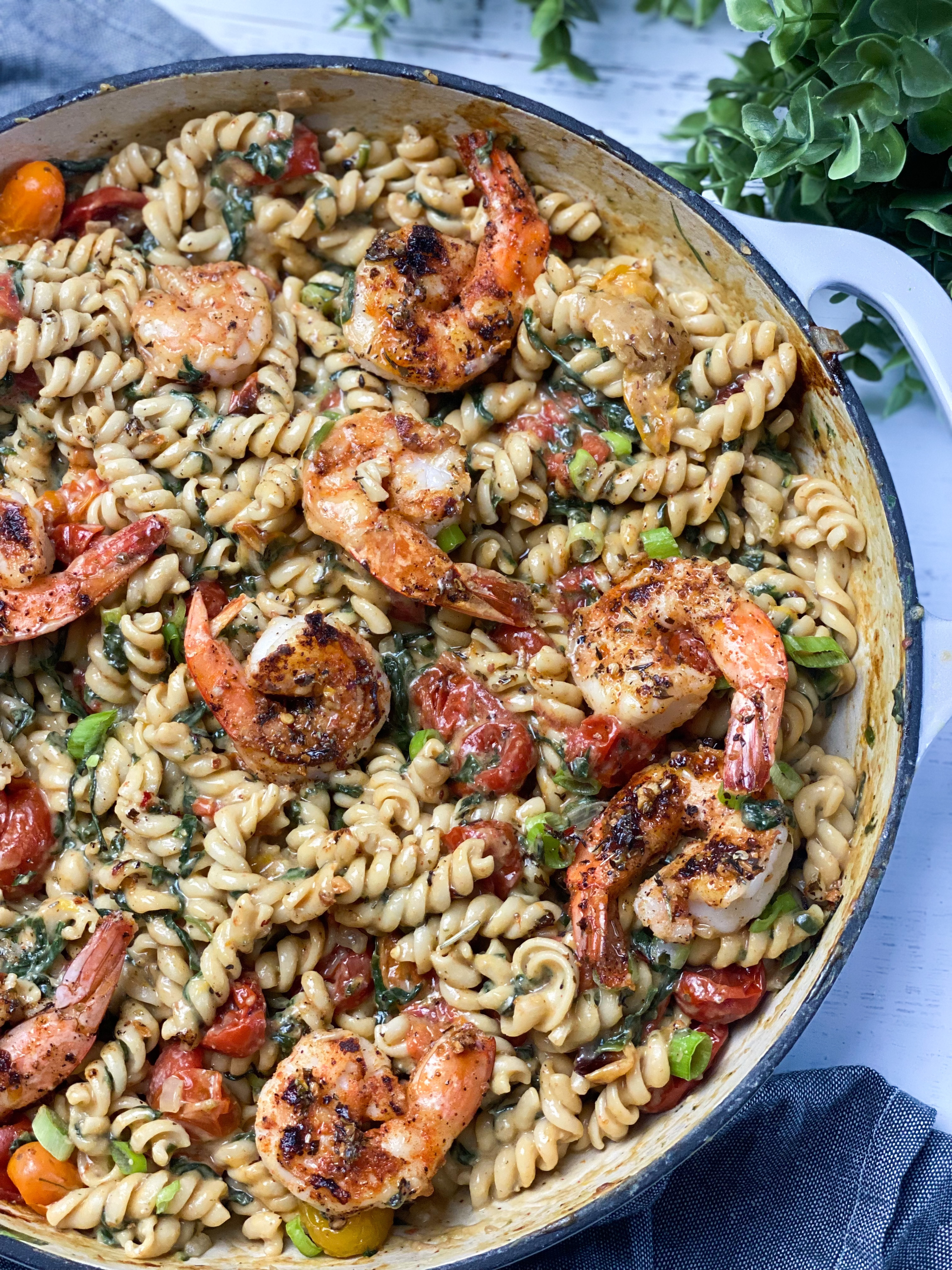 Cajun Shrimp Over Creamy Fusilli Pasta With Spinach & Roasted Tomatoes