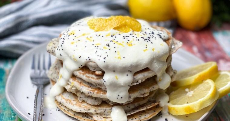 Lemon Poppyseed Pancakes With A Sweet Vanilla And Lemon Ricotta Topping