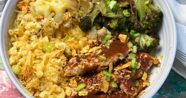 BBQ Chicken Mac & Cheese With Roasted Broccoli & Cauliflower