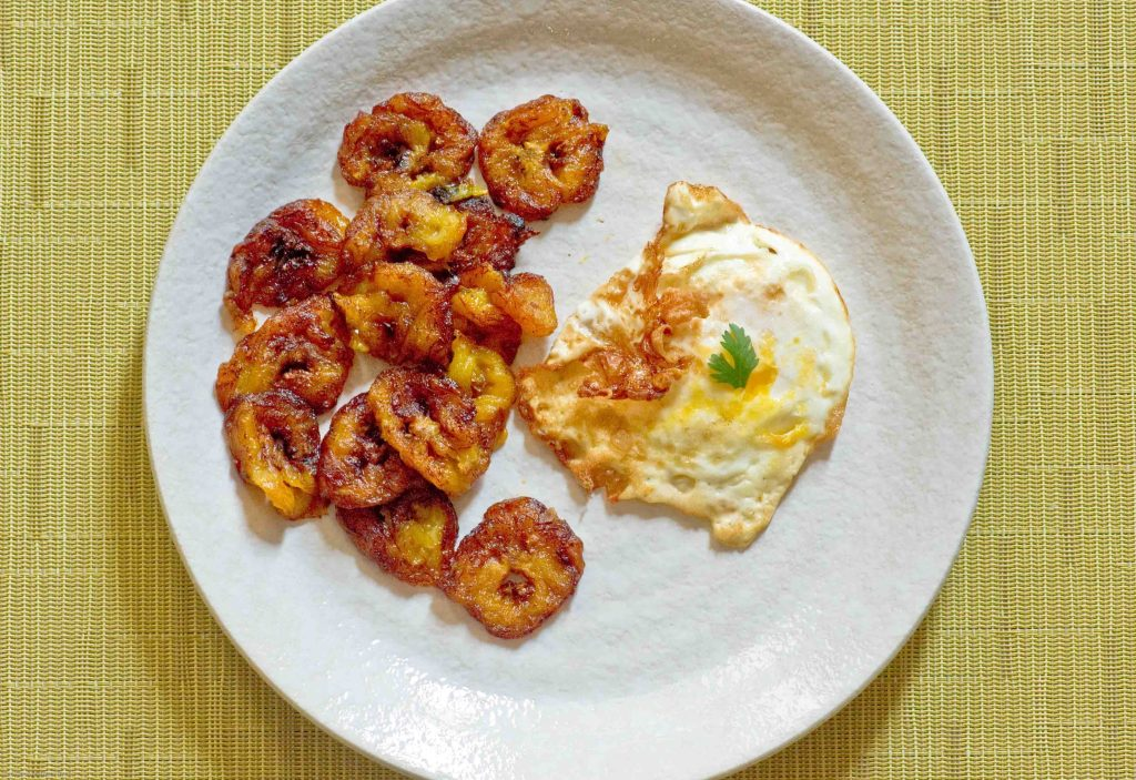Jamaican Breakfast Fried Ripe Plantains and Eggs