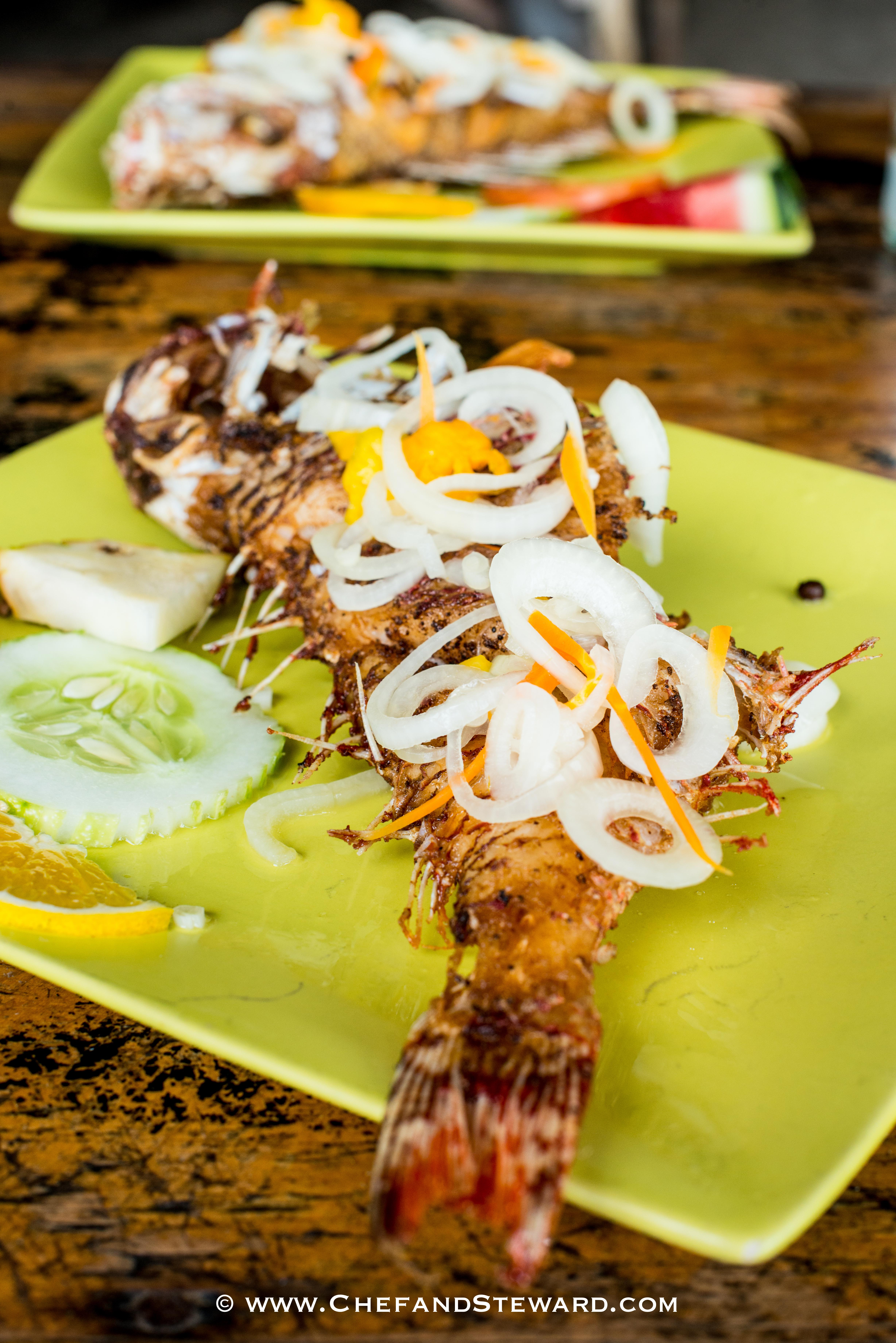 Jamaican Escoveitch Fish for Mother's Day on green plates