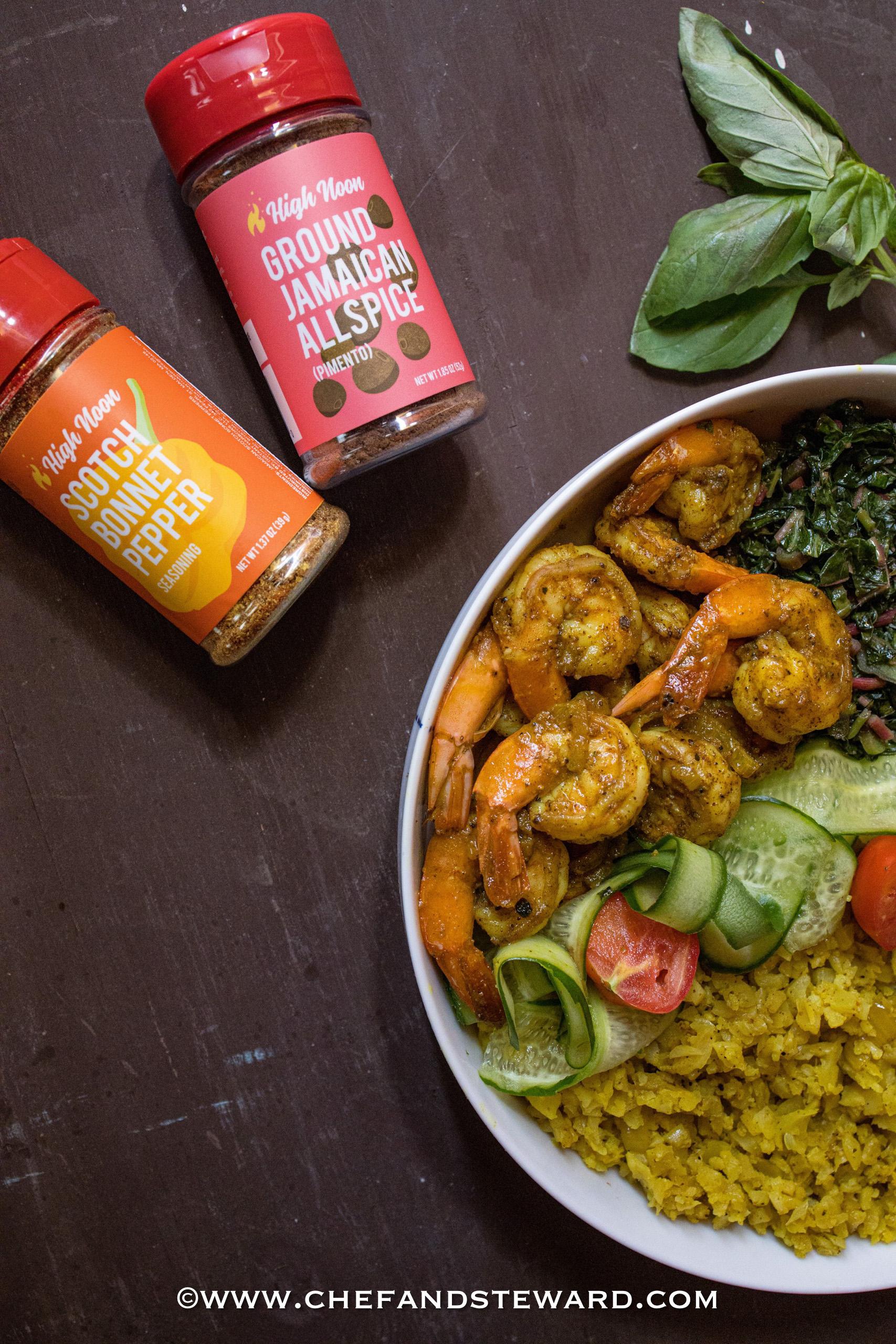 Spicy Jamaican Curry Shrimp Keto Bowl