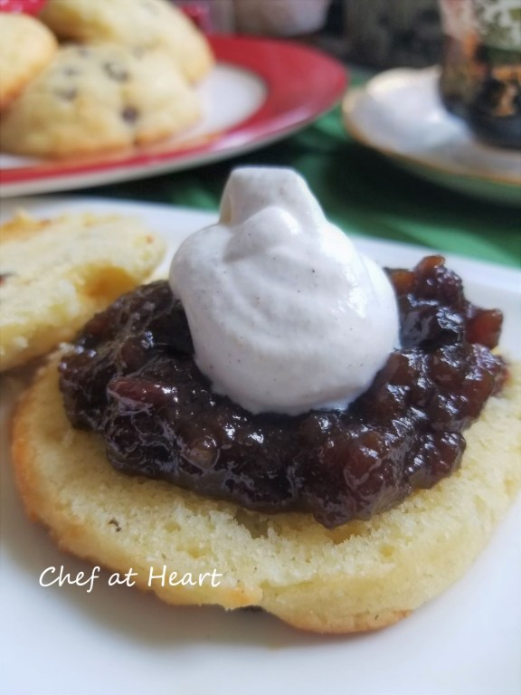 Gluten-free scones topped with mincemeat