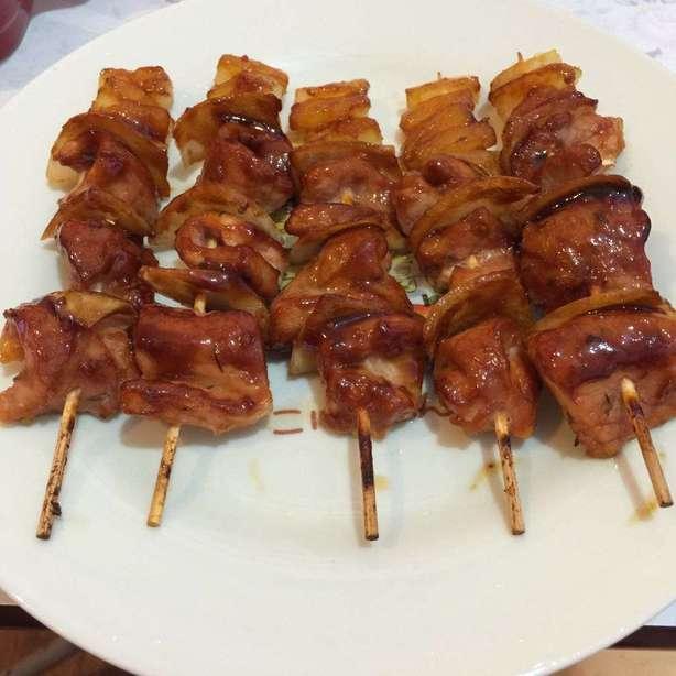 自製照燒豬柳洋蔥菠蘿串燒
