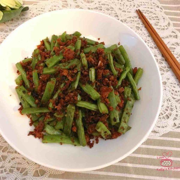 素牛肉碎炒四季豆