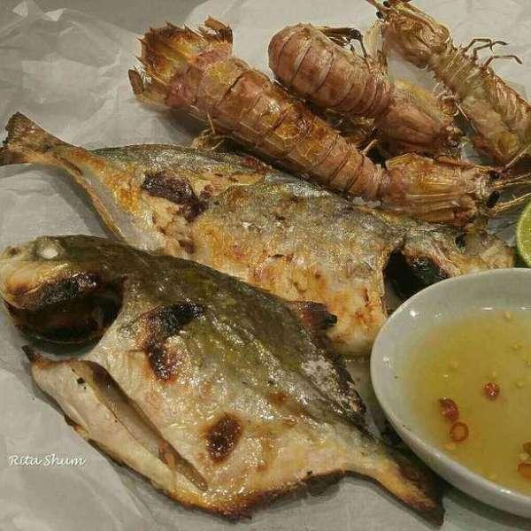 焗爐烤魚及瀨尿蝦