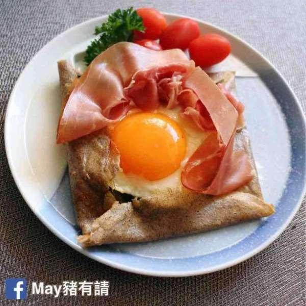菠菜芝士巴馬火腿蛋法式薄餅
