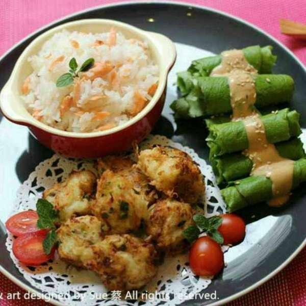 炸蘿蔔丸子 三文魚飯 花生醬油麥菜