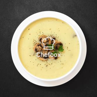 zenital picture of mushrooms cream soup.