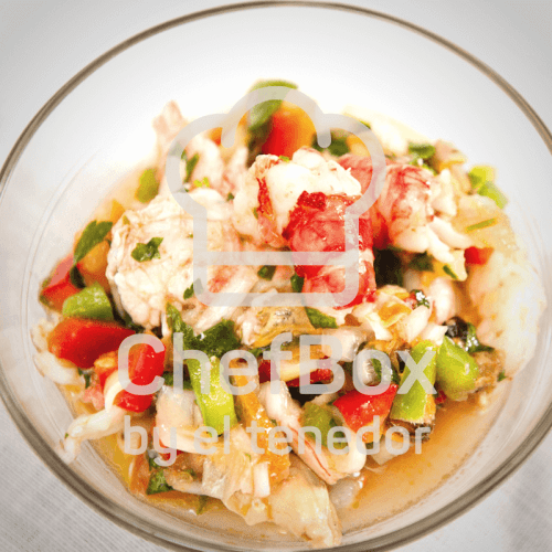 Shrimp salad with red peppers.