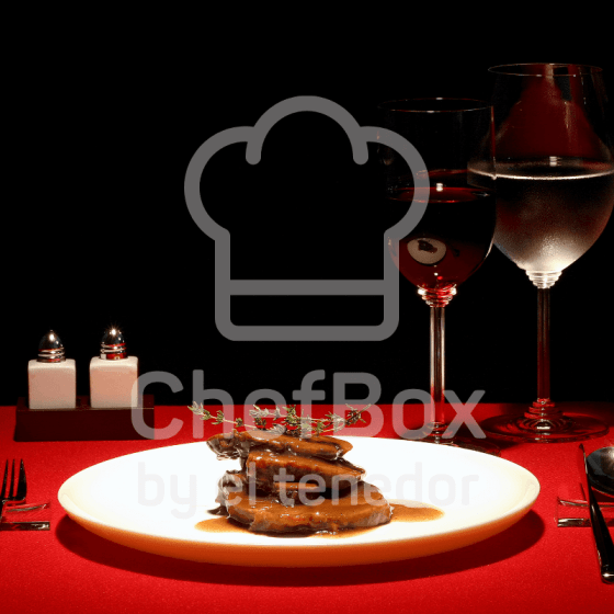 beef dish in white plate over red table cloth.