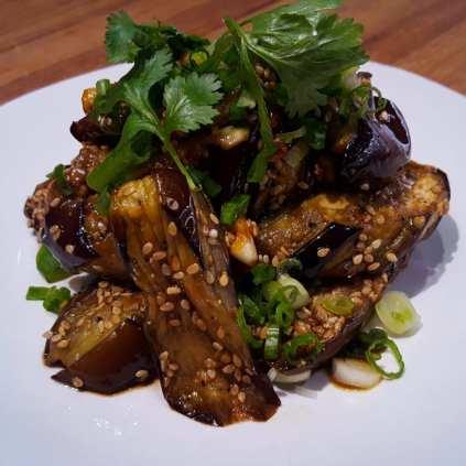 Roasted Garden Eggplant with Garlic, Soy Sauce, Mirin, Sesame, Scallions, Mirin & Cilantro