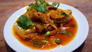 Kimchi Stew with Tofu, Pork Belly, Rice Cakes, Scallions & Cilantro Hamptons Cooking