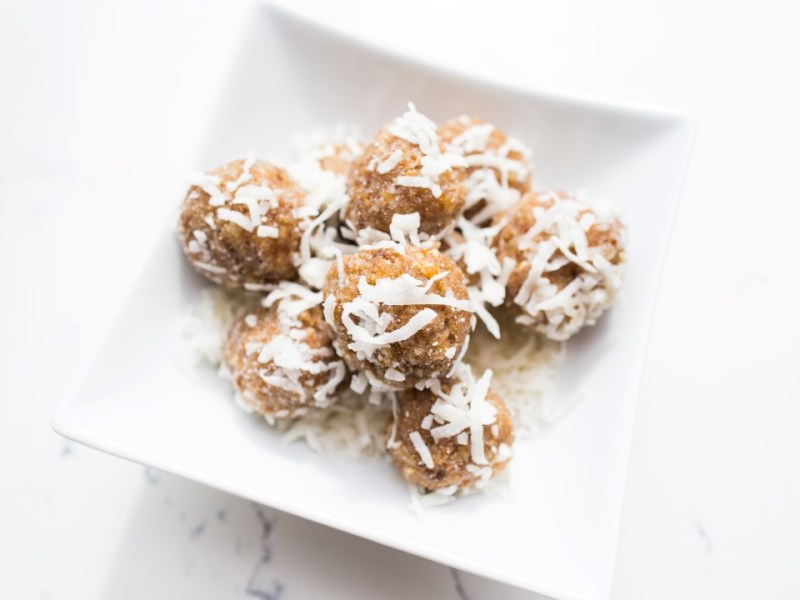 Coconut-date-nut energy bites