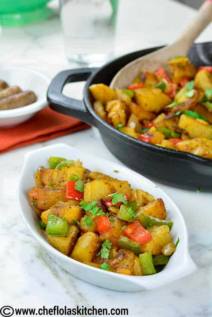 skillet potatoes served in small plate