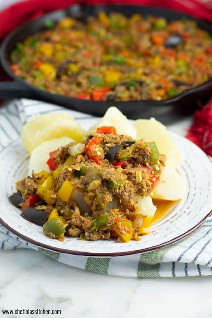 Eggplant Stew served with boiled Potatoes