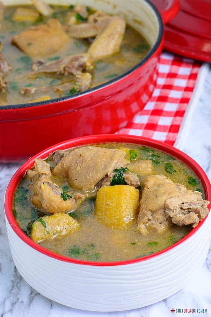 African Chicken Pepper soup with plantains