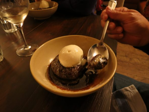 Sticky Toffee Pudding at a restaurant called Bumpkin, in London