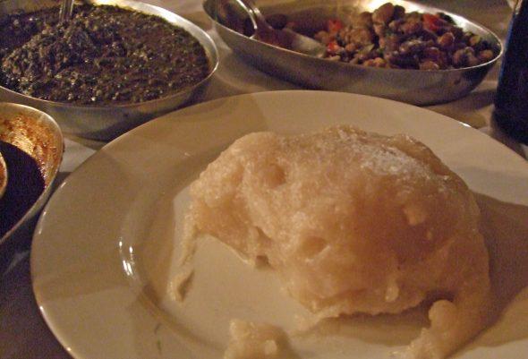 Ugali as part of a meal in Kigali, Rwanda.