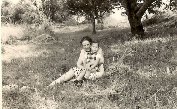 With my grandmother at her home in Charmes-la-Côte, France