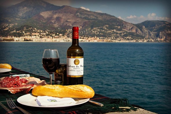 Picnic on the water in Roquebrune, France.