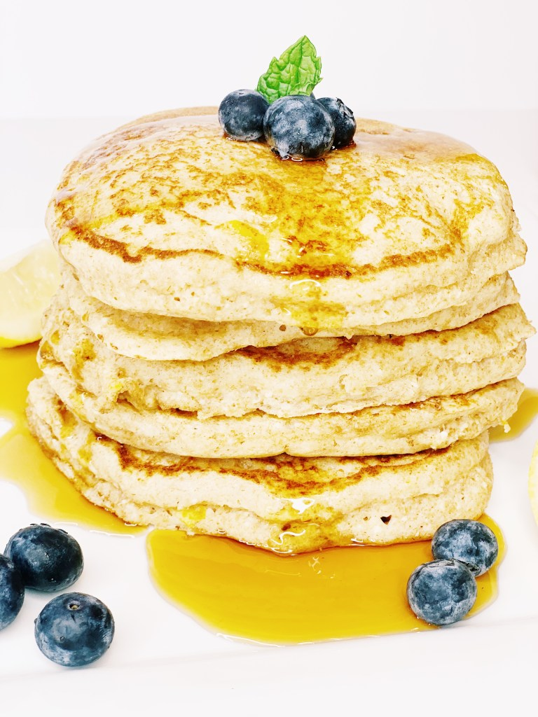 Lemon Ricotta Pancakes with Blueberries and Maple syrup