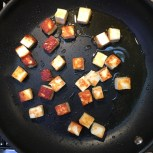 frying the paneer in ghee