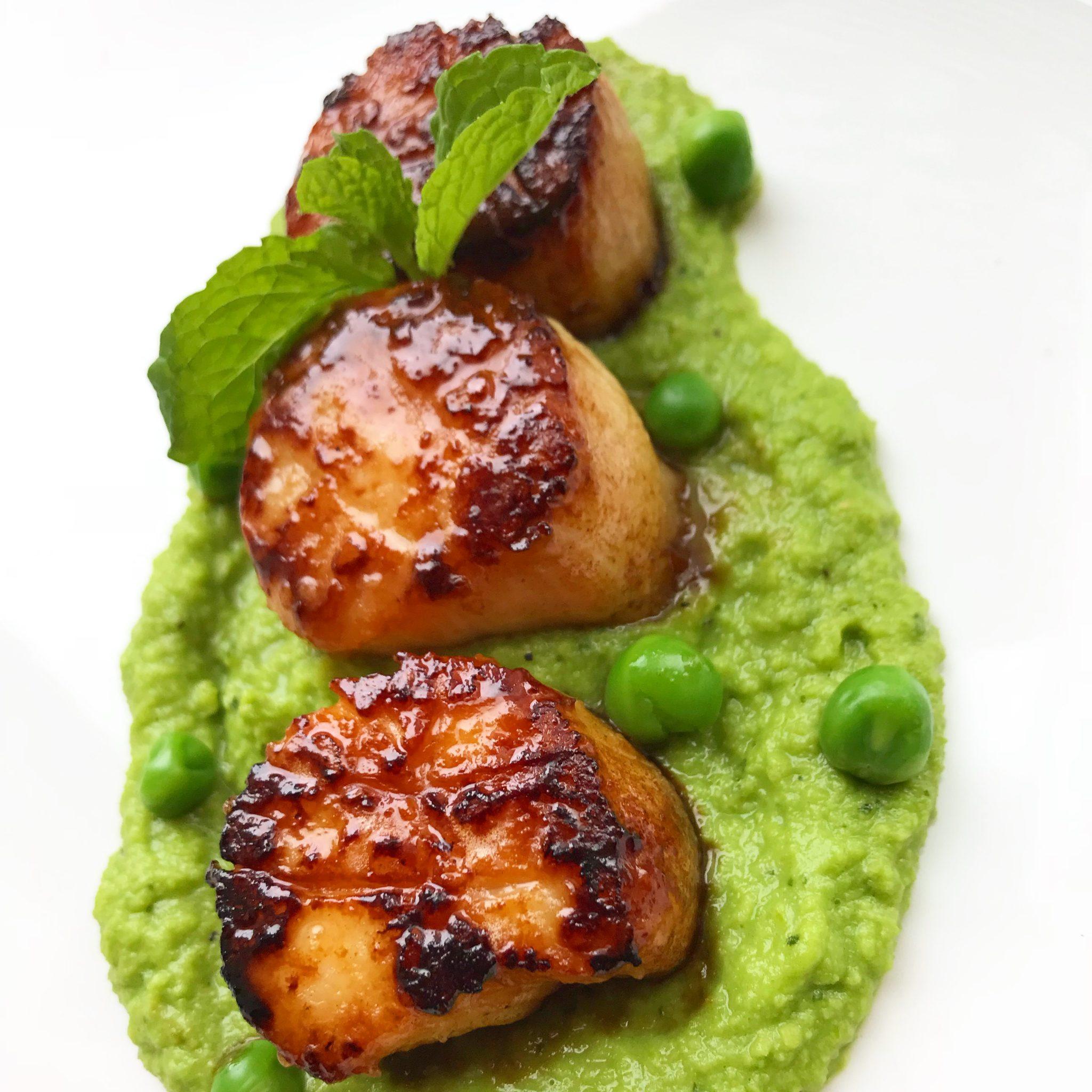 Scallops with Mint Pea Puree
