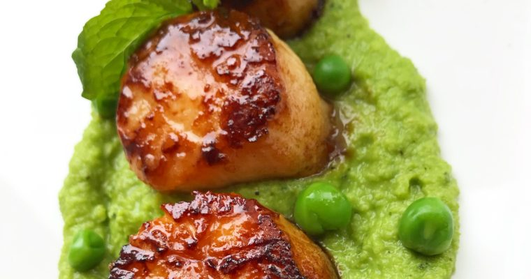Scallops with Mint Pea Puree
