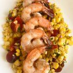 Shrimp with corn salsa