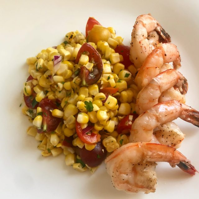 Shrimp with corn salsa