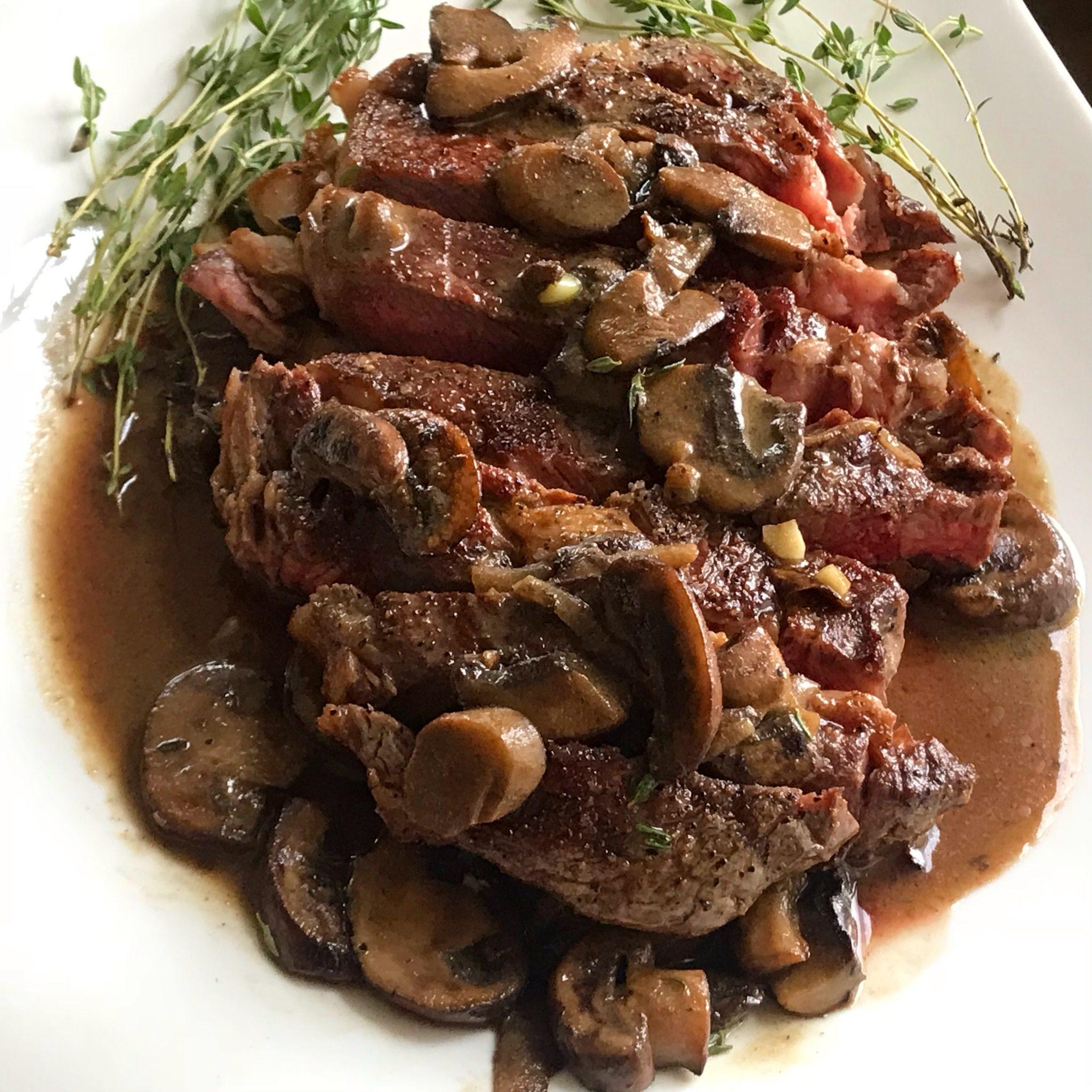 Steak with Mushroom Dijon Sauce