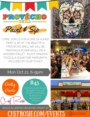 provecho grill, chef rosie, paint and sip event