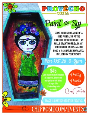 paint and sip event, chef rosie, provecho grill, menifee california, frida painting, diy wooden box painting