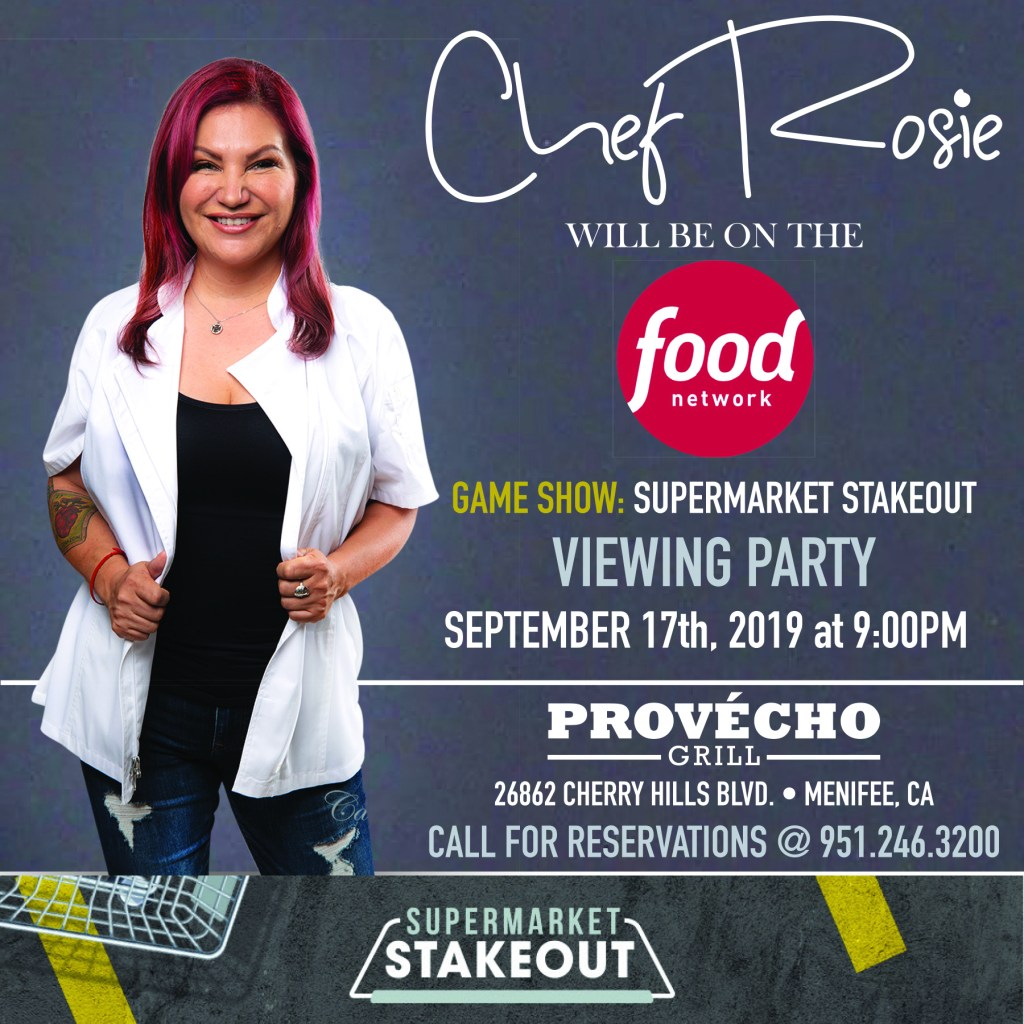 chef rosie, chef rosie o'connor, food network, supermarket stakeout, viewing party, latina chef, calimex chef, menifee california